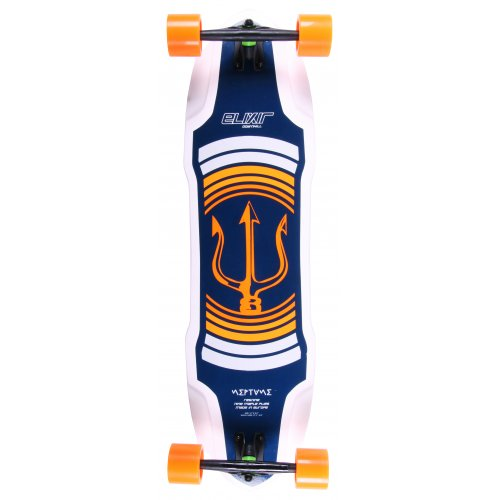Elixir Komplett-Longboard: Neptune Orange Top Mount
