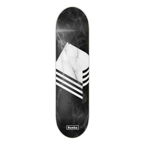 Rumba Skateboarding Deck: Marble Black 8.6