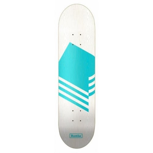 Rumba Skateboarding Deck: Wood Logo Cyan 8.3