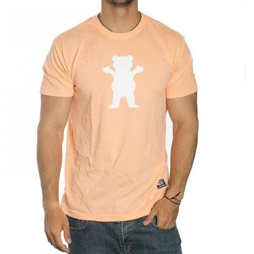 Grizzly T-Shirt: OG Bear Peach/White OR