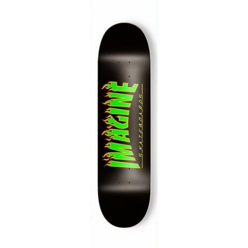 Imagine Skateboards Deck: Flames Rasta 8.2