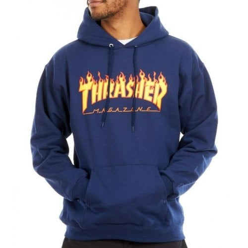 Thrasher Hoodie: Flame Logo Hood NV