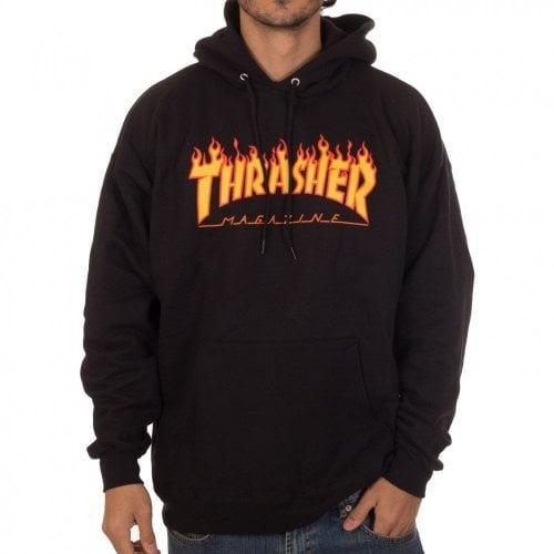 Thrasher Hoodie: Flame Logo Hood BK