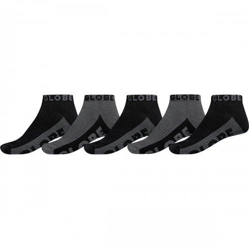 Globe Sockens: Black/Grey Ankle Sock 5 PK