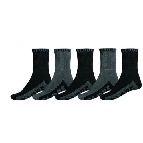 Globe Sockens: Black/Grey Crew Sock 5PK