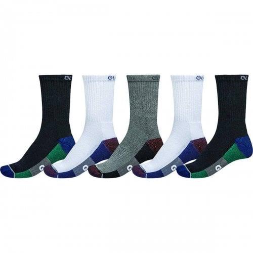 Globe Sockens: Evan Crew Sport Sock 5PK WH/NV/BK