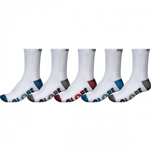 Globe Sockens: Multi Stripe Crew Sock 5 Pack WH