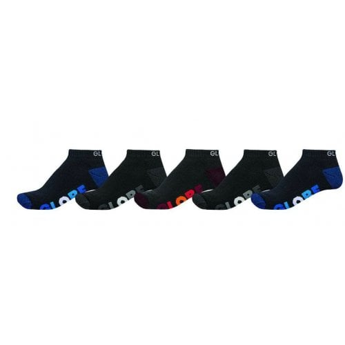 Globe Sockens: Multi Stripe Ankle Sock 5 Pack BK