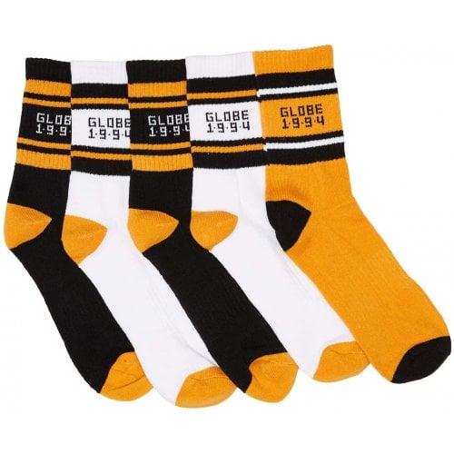 Globe Sockens: Bengal Crew Sock 5PK Gold